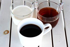 パラオガーデンパレスの朝食で飲めるコーヒーや牛乳や紅茶