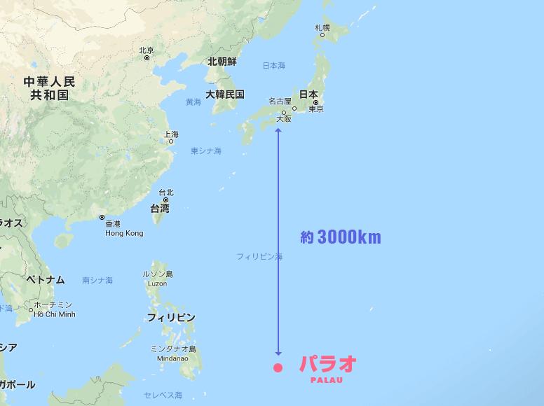 日本からパラオまでの地図